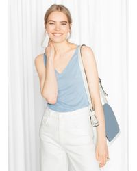 & Other Stories - Blue Ribbed V-neck Top - Lyst
