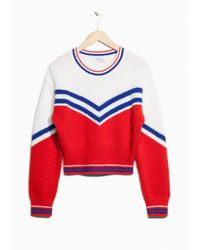& Other Stories - Red Jacquard Varsity Striped Sweater - Lyst