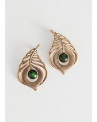 & Other Stories - Metallic Cutout Feather Stud Earrings - Lyst