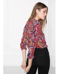 & Other Stories Red Silk Shirt