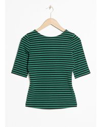 & Other Stories - Green Striped Top - Lyst