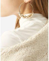 Stradivarius | Yellow Hoop Earrings With Faux Pearls | Lyst