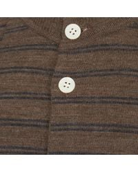 Still By Hand - Brown Striped Crew Neck Cardigan for Men - Lyst
