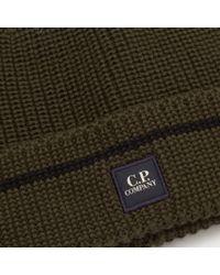 C P Company - Green Dark Olive Tab Logo Beanie Hat for Men - Lyst