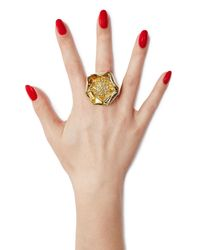 Aurelie Bidermann - Metallic 18kt Yellow Gold-plated Flower Ring - Lyst
