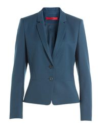 HUGO - Blue Virgin Wool Blazer - Lyst