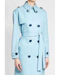 Victoria, Victoria Beckham - Blue Drop Shoulder Wool Trench - Lyst