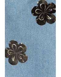Victoria Beckham   Blue Floral Embellished Straight Leg Jeans   Lyst