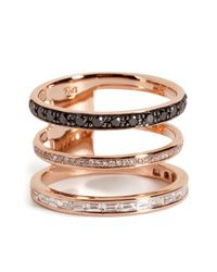 Nikos Koulis - Metallic 18kt Pink Gold Ring With Black And White Diamonds - Lyst
