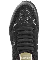 Valentino - Black Rockstud Leather And Lace Sneakers - Lyst