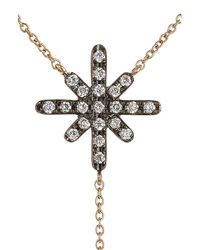 Diane Kordas | Metallic Starburst 18kt Rose Gold Necklace With White Diamonds | Lyst