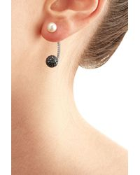 Delfina Delettrez | Black 18kt White Gold Sphere Earring With Diamonds And Pearl | Lyst