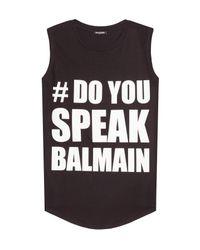 Balmain - Printed Cotton Tank - Black - Lyst