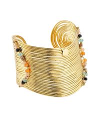 Gas Bijoux | Metallic 24k Gold-plated Wave Cuff With Stones | Lyst