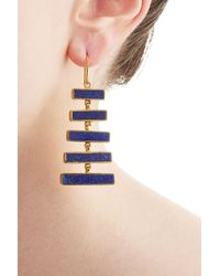 Pippa Small | Metallic Gold Plated Silver Earrings With Lapis | Lyst