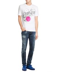 DSquared² | White Cotton T-shirt With Skull Print for Men | Lyst