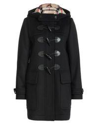 Burberry Brit - Black Finsdale Wool Duffle Coat - Lyst