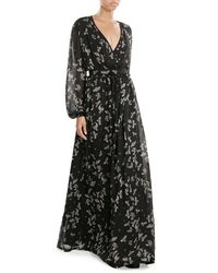 Just Cavalli   Black Printed Chiffon Maxi Dress   Lyst