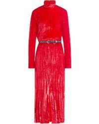 Nina Ricci - Red Shiny Silk Velvet Dress - Lyst