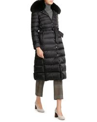 RED Valentino | Black Down Coat With Fur-trimmed Collar | Lyst