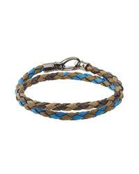 Tod's | Blue Braided Leather Bracelet | Lyst