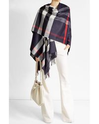 Burberry   Multicolor Printed Poncho With Cashmere And Merino Wool   Lyst