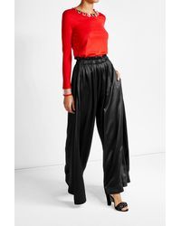 Fendi | Black Satin High-waisted Wide Leg Pants | Lyst
