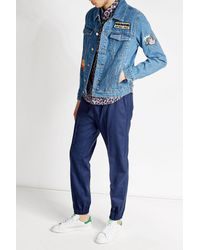 KENZO | Blue Denim Jacket With Patches for Men | Lyst