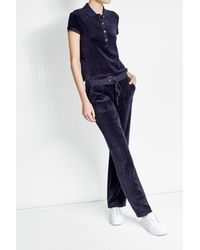 Juicy Couture | Blue Straight Leg Velour Track Pants | Lyst