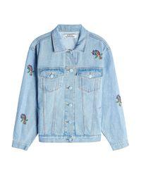 Ksenia Schnaider - Blue Embroidered Denim Jacket - Lyst