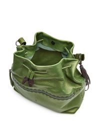 Henry Beguelin - Green Leather Drawstring Tote - Lyst