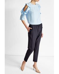 HUGO | Blue Silk Blouse With Ruffled Sleeves | Lyst