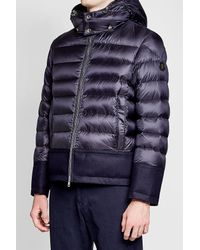 Moncler - Blue Quilted Down Jacket With Wool for Men - Lyst