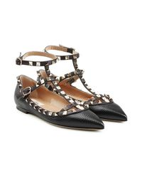 Valentino - Multicolor Rockstud Textured Leather Ballerinas - Lyst
