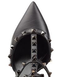 Valentino - Black Rockstud Leather Kitten Heel Pumps - Lyst