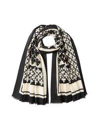 By Malene Birger - Black Patterned Wool Scarf - Lyst