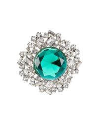 Kenneth Jay Lane - Blue Crystal Brooch With Faceted Stone - Lyst