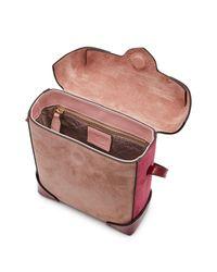 MANU Atelier - Pink Sac boîte à bandoulière chaîne en cuir et daim Micro Pristine - Lyst
