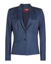 HUGO - Blue Printed Virgin Wool Blazer - Lyst