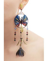 Valentino - Blue Feather And Bead Embellished Earrings - Multicolor - Lyst