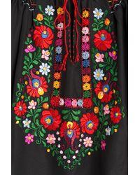 Muzungu Sisters - Embroidered Cotton Top - Black - Lyst