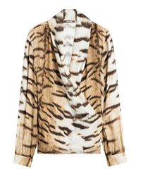 Roberto Cavalli - Brown Printed Silk Blouse - Lyst