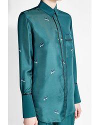 Victoria, Victoria Beckham - Blue Printed Silk Shirt With - Lyst
