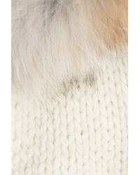 Woolrich - Natural Knit Cardigan With Fur Collar - Lyst