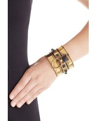 Alexander McQueen - Metallic Embellished Brass Bangle - Lyst