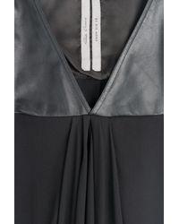 Rick Owens - Black Silk Chiffon And Leather Dress - Lyst