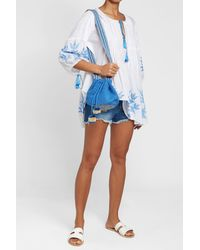 Juliet Dunn - Blue Cotton Tunic With Tassels - Lyst