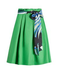 Emilio Pucci | Green Cotton Midi Skirt With Silk | Lyst