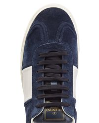 Valentino - Blue Gazelle Suede Sneakers With Rockstuds for Men - Lyst