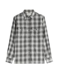 Current/Elliott - Gray Checked Shirt - Lyst